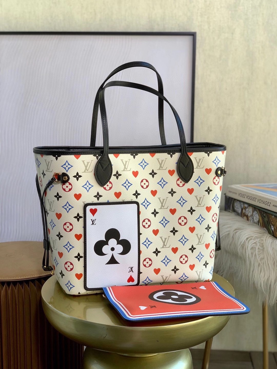 LV GAME ON NEVERFULL MM TOTE WHITE M57462