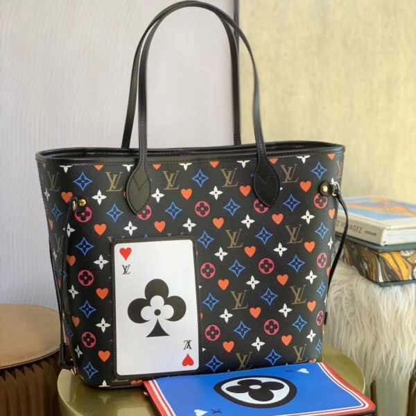 LV GAME ON NEVERFULL MM TOTE PURSE BLACK MONOGRAM M57483