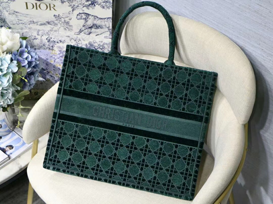 DIOR BOOK TOTE GREEN CANNAGE EMBROIDERED VELVET