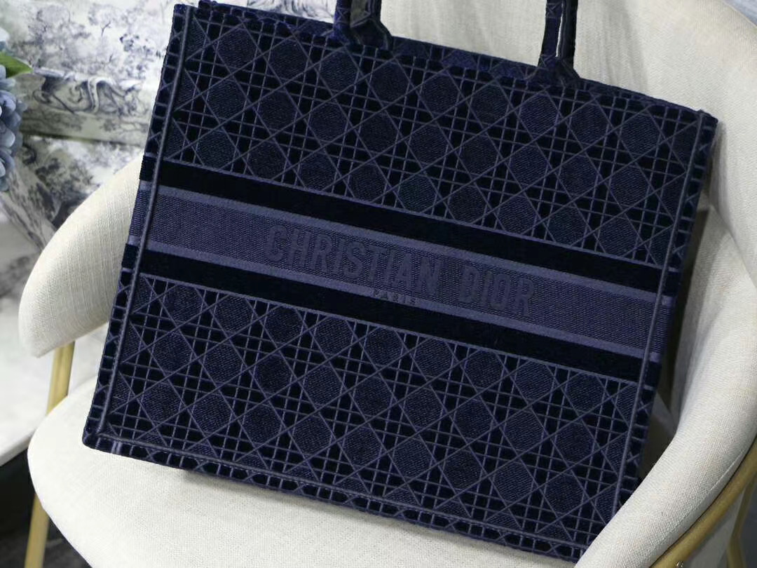 DIOR TOTE BLUE CANNAGE EMBROIDERED VELVET