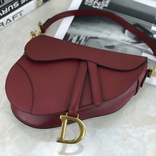 Christian Dior Saddle Burgundy Grained Calfskin Purse
