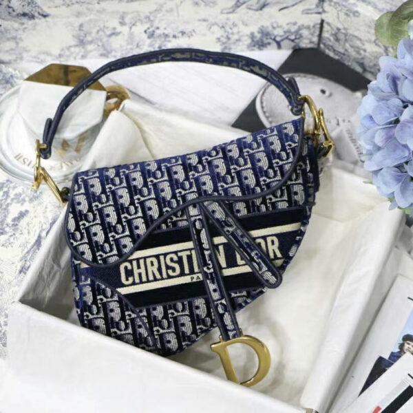 Christian Dior Saddle Blue Dior Oblique Embroidered Velvet Purse