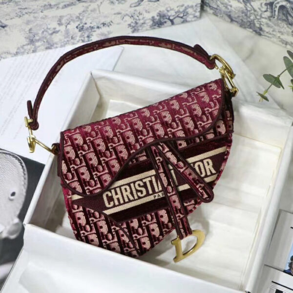 Dior Saddle Bag Burgundy Dior Oblique Embroidered Velvet