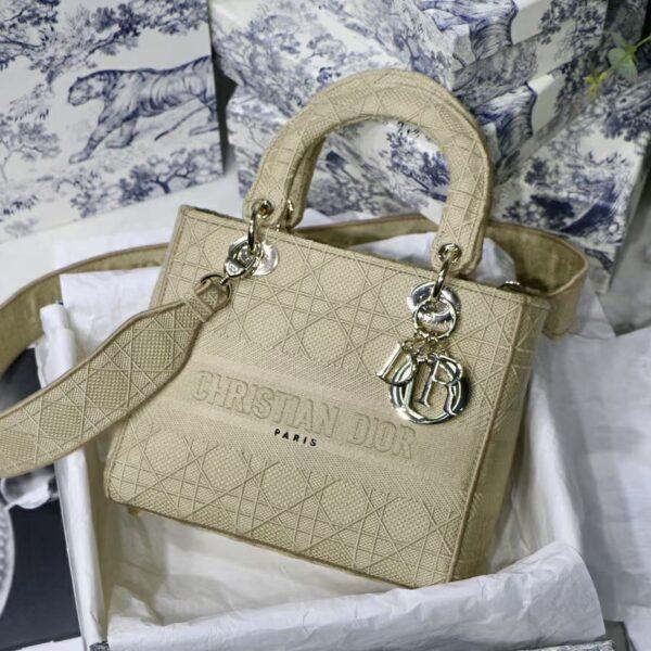 Dior Medium Lady D-LITE Purse Beige Cannage Embroidery