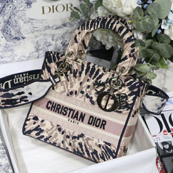 Dior LADY D-LITE BAG Multicolor Tie & Dior Embroidery