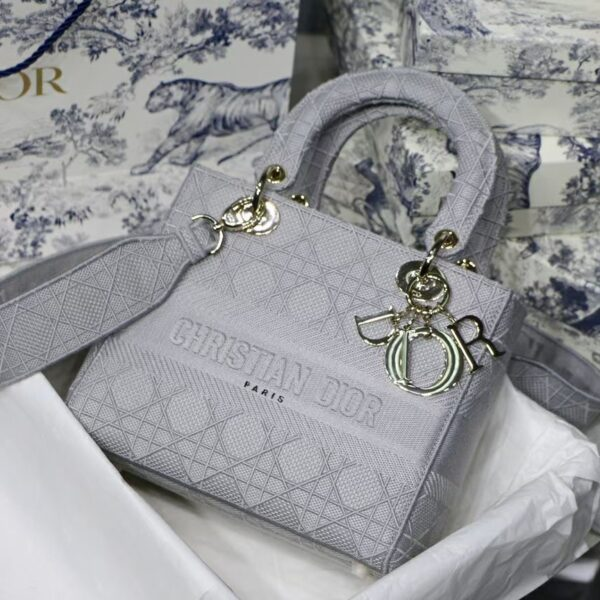 Dior Medium Lady D-LITE Gray Cannage Embroidery