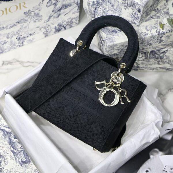 Dior Medium Lady D-LITE Black Cannage Embroidery