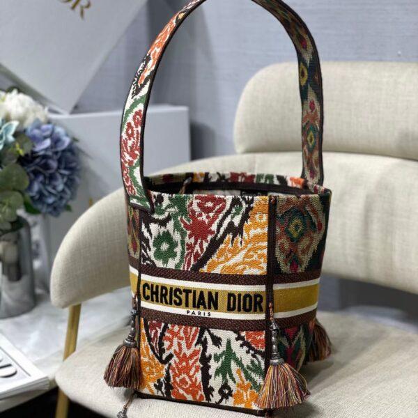 D-BUBBLE BUCKET BAG Yellow Multicolor Dior Paisley Embroidery